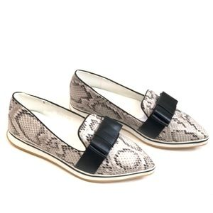 Shoes - Snake-print Pointed Loafer Flats With Bow Detail